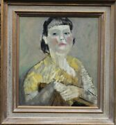 Pauline Glass Modern British Young Woman Portrait Oil Painting 1908-1992