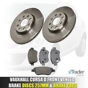 Vauxhall Corsa D Front Brake Discs And And Pads 1.2 1.4 2006-2014 Set New 2 Vented
