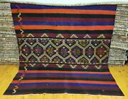 Beautiful 1900-1939's Antique Tribal Camel Bag Embroidered Panels Rug 6'5 X 7'