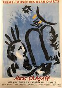 Original Vintage French Poster - Reims Andndash Marc Chagall Musee Des Beaux-arts 1960