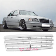 Grey Style Front Upper Grille For 1994-2000 Mercedes Benz W202 C Class Chrome