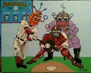 Stretched 16x 20 Robot Play Ball Acrylic On Canvas By Artist Guy Foster