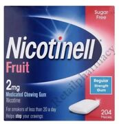 Nicotinell 2mg Fruit Gum Pack Of 204 -- 1, 2, 3, 6, 12 Money Saving Pack 05/2023