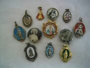 Vintage Lot 12 Catholic Religious Enamel Medals, Pins, Silver Medals, And Germany
