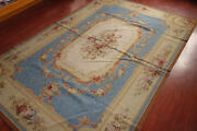 6and039 X 9and039 Needlepoint Rug So Beautiful Blue Beige Floral Garland French Chic 61