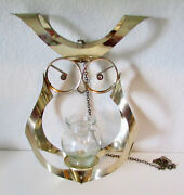 Vintage Mascot Hanging Brass Owl Votive Glass Candle Holder Home Decor 14 Tall