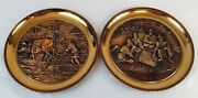 Vintage Set Of 2 Brass Embossed Rope Edge Wall Hanging 11.5 Inch Plates S