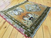 Beautiful Primitive Antique 1900-1930and039s Wool Pile1and0397and039and039 X 2and039 Vegy Dye Rug