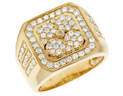 Men's Real Diamond 10k Yellow Gold Square Pinky Statement Ring 1 1/2 Ct 18mm