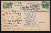 Us 1915 Postcard W/pan-pacific Expo Cancel And Itinerary Label Most Unusual