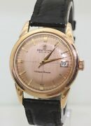 Rare Vintage 35mm Mens Solid 18k Gold 1950and039s B126 Breitling Transocean Automatic