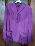 Polo Collection Purple Label Purple Suede Fringed Jacket Size 4