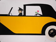 Original Art Deco Lithograph Rose De Bagatelle - Yellow Car- Signed And Numbered