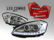 Combo Facelift Led Headlight+philips Xenon Bulb +clear Tail Light For 07-09 W221
