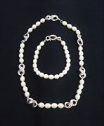 And Co Vintage Infinity Freshwater Pearl And Bracelet Set, Sterling Silver