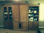 💥drexel Heritage 6500 Tv Entertainment Center Wall Unit Solid Wood Lighted 💥