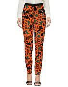 Aw15 Moschino Couture Jeremy Scott Orange Brown Green Camouflage Rayon Pants