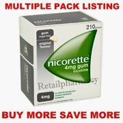 Nicorette Original 4mg Gum Pack Of 210 Pieces Multiple Packs Available 10/2023