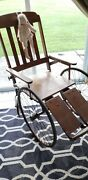 Haunted House Creepy 1800s Antique Wooden Wheelchair Great For Doctors Office