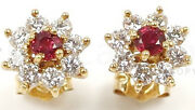0.80cts Natural Round Diamond 14k Yellow Gold Ruby Butterfly Lock Stud Earring
