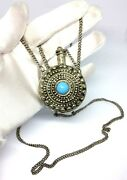 Vintage Ethnic Tribal Silver Filigree Snuff Perfume Bottle Chain Necklace