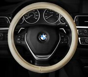 Steering Wheel Cover Beige Tan Nude Crude Faux Leather 14.5 - 15.5 M