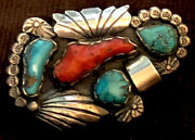 Superb Zuni Attr Dan Simplicio Pin Leaves Coral Turquoise Sterling Silver .925