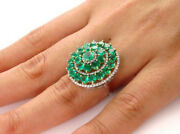 1.65ct Natural Round Diamond 14k Solid White Gold Emerald Wedding Cocktail Ring