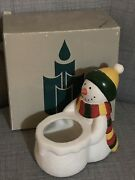 Partylite Snowman Votive Candle Holder Christmas Winter Retired Boxed 5in Vtg