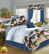 Coastal Beach Pony Horse Blue/brown Comforter Set And Sheets+keychain No Pillow