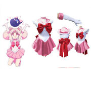 Sailor Moon Pink Chibiusa Costume Cosplay Uniform Fancy Dress Outfit + Gloves