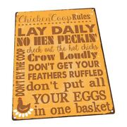Chicken Coop Rules Metal Sign Wall Decor For Farm And Country