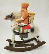 Antique Vintage 1930and039s Santa On Rocking Horse Toy With Key In Working Condition