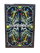 Black Rectangle Marble Dining Table Inlay Living Room Marquetry Home Decor H3217