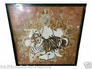 36 Black Marble Dining Square Table Top Mosaic Marquetry Tiger Inlay Home Decor