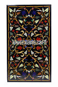 4and039x2and039 Black Marble Marquetry Dining Table Top Pietradure Gem Inlay Hallway Decor