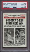 2018 Topps Heritage 165 Game 4 World Series Dodgers 5 Run 9th Gets Win Psa 10