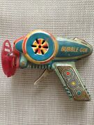 Tin Toy Space Gun Bubble Gun Lithograph Friction Made In Japan 1960's Works