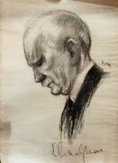 Richard Strauss Composer Ivan Sors Artist Large Drawing Signed By Strauss