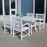 Bradley Rectangular And Curved Leg Table And Armchair Outdoor Wood Dining Set 3