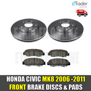 For Honda Civic Mk8 1.4 1.8 2.2 Cdti 06-11 Front Brake Discs And And Pads New