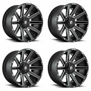 Set 20 Fuel Contra D616 Matte Black Milled Wheels 20x9 8x180 20mm For Chevy Gmc