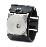 Fob Paris Classic Silver/black Cuff Watch / Rehab 40 Leather/stainless Steel