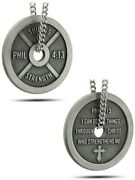 Womenand039s Antique Finish Weight Plate Necklace-phil 413 Shields Of Strength