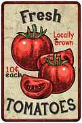 Fresh Tomatoes Kitchen Vintage Look Chic Metal Sign 108120020065