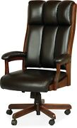 Amish Desk Arm Chair Computer Solid Wood Leather Upholstery Office Furniture