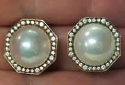 Antique 14mm Pearl And 0.80ctw Diamond Earrings