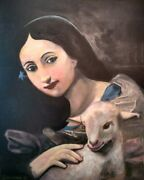 Masterpiece Girl And Lamb Sheep Oil On Canvas Portrait By Artist Guy Foster