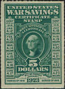 Ws3 1917 5 War Savings Stamp Mint-og/nh--rouletted 7 Perfs-xf