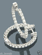 2.40ct Natural Diamond 14k Solid White Gold Wedding Anniversary Hoops Earring